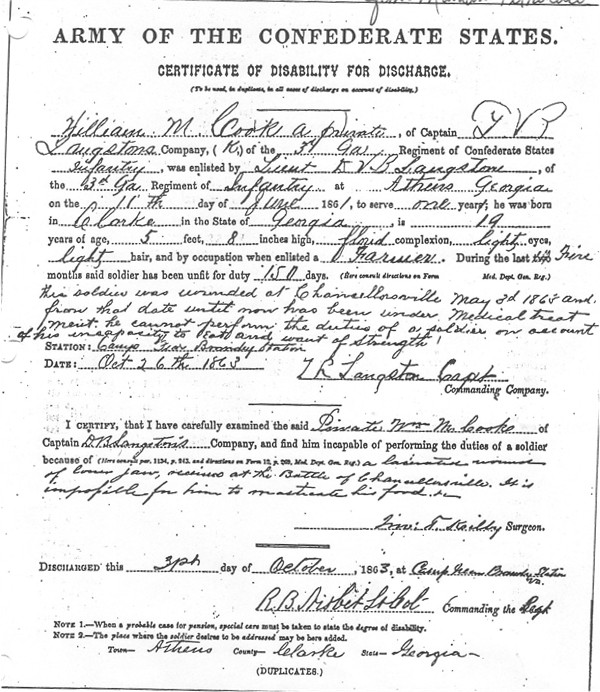 William Cook Discharge Papers